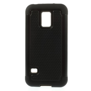 Football Grain Detachable PC + Silicone Combo Case for Samsung Galaxy S5 Mini G800 - Black