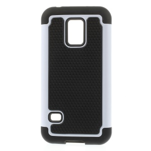 Football Grain Detachable PC + Silicone Combo Cover for Samsung Galaxy S5 Mini G800 - White