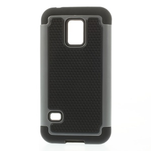 Football Grain Detachable PC + Silicone Combo Shell for Samsung Galaxy S5 Mini G800 - Gray