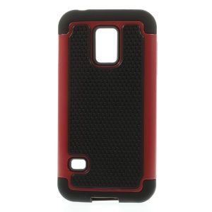 Red for Samsung Galaxy S5 Mini G800 Football Grain PC + Silicone Combo Case