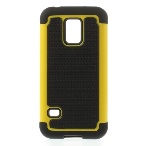 Yellow for Samsung Galaxy S5 Mini G800 Football Grain PC + Silicone Hybrid Shell