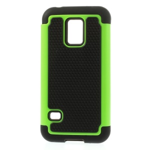 Green for Samsung Galaxy S5 Mini G800 Football Grain PC + Silicone Hybrid Case Cover