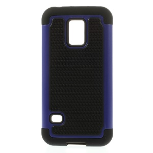 Blue for Samsung Galaxy S5 Mini G800 Football Grain PC + Silicone Hybrid Case Shell