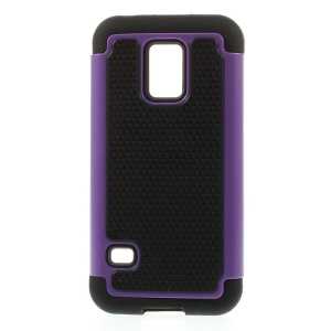 Purple for Samsung Galaxy S5 Mini G800 Football Grain PC + Silicone Shell Cover