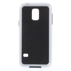 Rhombus Pattern PC + TPU Combo Cover for Samsung Galaxy S5 Mini G800 - White