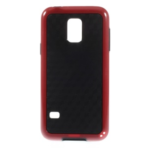 Rhombus Pattern PC + TPU Hybrid Back Case for Samsung Galaxy S5 Mini G800 - Red