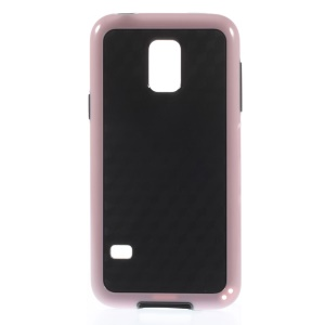 Rhombus Pattern PC + TPU Hybrid Cover for Samsung Galaxy S5 Mini G800 - Pink