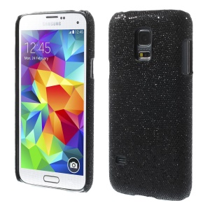 Black Glittery Sequins Leather Coated Hard Back Shell for Samsung Galaxy S5 Mini SM-G800