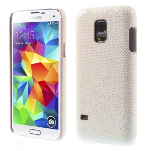White Glittery Sequins Leather Coated Hard Back Cover for Samsung Galaxy S5 Mini SM-G800