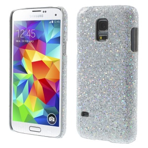 Silver Glittery Sequins Leather Coated Hard Case for Samsung Galaxy S5 Mini SM-G800