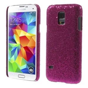 Rose Glittery Sequins Leather Coated Hard Cover for Samsung Galaxy S5 Mini SM-G800