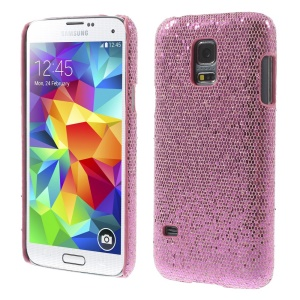 Pink Glittery Sequins Leather Coated Hard Shell for Samsung Galaxy S5 Mini SM-G800