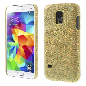Gold Glittery Sequins Leather Coated Hard PC Case for Samsung Galaxy S5 Mini SM-G800