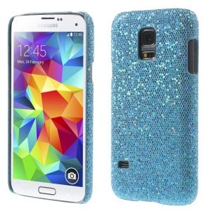 Blue Glittery Sequins Leather Coated Hard PC Cover for Samsung Galaxy S5 Mini SM-G800