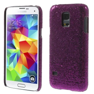 Purple Glittery Sequins Leather Coated Hard Plastic Case for Samsung Galaxy S5 Mini SM-G800