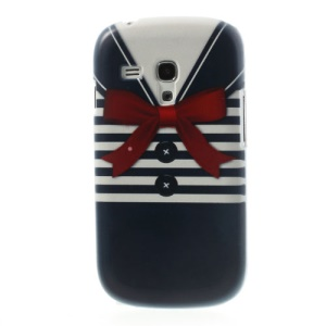 For Samsung Galaxy S III Mini I8190 Blue Stripe Shirt PC Hard Shell