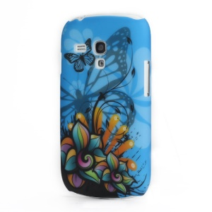 Blooming Flowers and Butterflies Samsung Galaxy S III Mini i8190 Hard Case Shell (Blue Grounding)