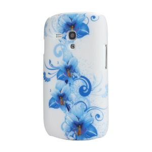 Blue Petals Plastic Cover Case for Samsung Galaxy S III / 3 Mini I8190