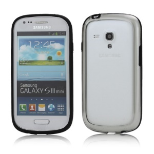 Plastic TPU Hybrid Bumper Frame Case for Samsung Galaxy S3 Mini i8190 - Black