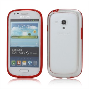 Plastic TPU Hybrid Bumper Frame Case for Samsung Galaxy S3 Mini i8190 - Red
