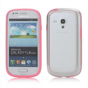 Plastic TPU Hybrid Bumper Frame Case for Samsung Galaxy S3 Mini i8190 - Pink