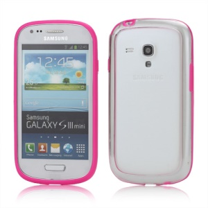 Plastic TPU Hybrid Bumper Frame Case for Samsung Galaxy S3 Mini i8190 - Rose