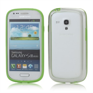 Plastic TPU Hybrid Bumper Frame Case for Samsung Galaxy S3 Mini i8190 - Green