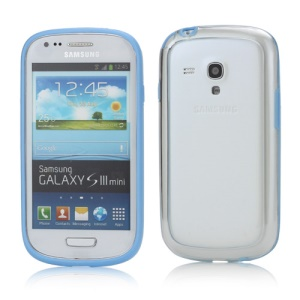 Plastic TPU Hybrid Bumper Frame Case for Samsung Galaxy S3 Mini i8190 - Blue