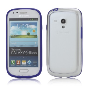 Plastic TPU Hybrid Bumper Frame Case for Samsung Galaxy S3 Mini i8190 - Purple