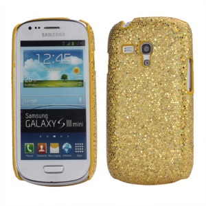 Glittery Paillette Hard Cover Case for Samsung Galaxy S3 / III Mini i8190 - Gold
