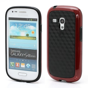 3D Cube Plastic & TPU Case Cover for Samsung Galaxy S3 Mini i8190 - Black / Red