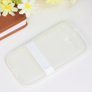 Matte TPU + PC Hybrid Cover w/ Kickstand for Samsung Galaxy Core I8260 I8262 - White