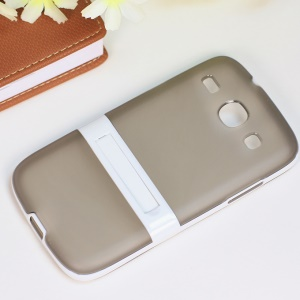 Matte TPU + PC Combo Case w/ Kickstand for Samsung Galaxy Core I8260 I8262 - Grey