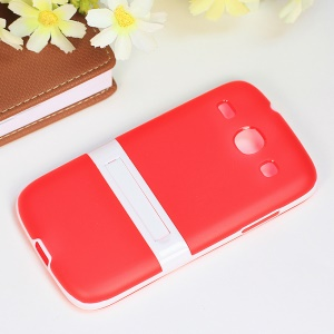 Matte TPU + PC Combo Shell w/ Kickstand for Samsung Galaxy Core I8260 I8262 - Red