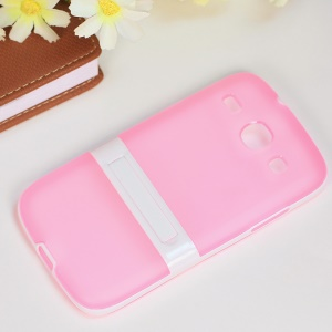 Matte TPU + PC Cover Case w/ Kickstand for Samsung Galaxy Core I8260 I8262 - Pink