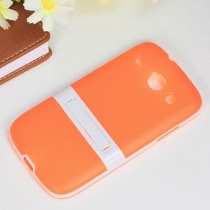 Matte TPU + PC Hybrid Shell w/ Kickstand for Samsung Galaxy Core I8260 I8262 - Orange