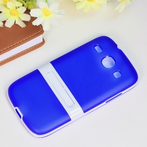 Matte TPU + PC Hybrid Back Case Kickstand for Samsung Galaxy Core I8260 I8262 - Blue