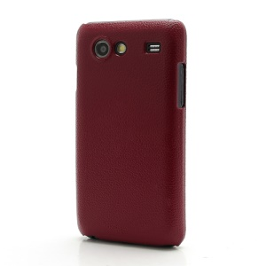Leather Textured Plastic Hard Case Cover for Samsung I9070 Galaxy S Advance;Red