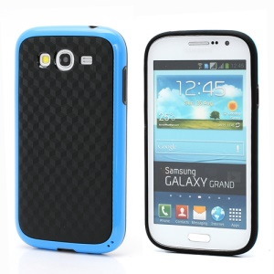 3D Cube Plastic & TPU Case Cover for Samsung Galaxy Grand I9080 I9082 - Black / Blue
