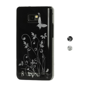 Butterfly Flowers Hard Case Cover for Samsung I9100 Galaxy S2 / II;White