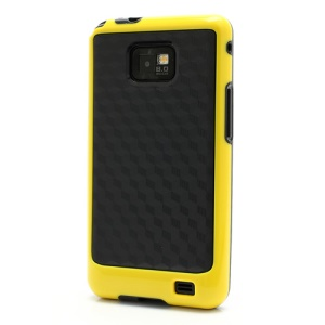 3D Cube Plastic & TPU Case Cover for Samsung Galaxy S 2 / II I9100 - Black / Yellow