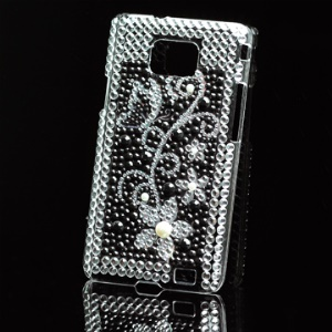 Sparkling Diamond Hard Case with Flower Pattern for Samsung i9100 Galaxy S II