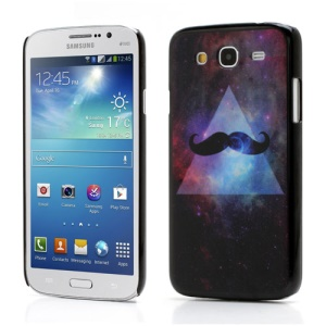 For Samsung Galaxy Mega 5.8 I9150 I9152 Matte Hard Cover Purple Background Mustache Design