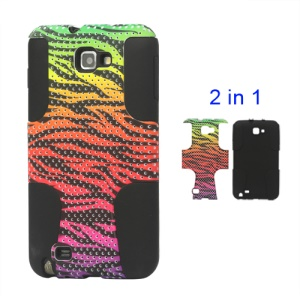 Snap-on Colorized Zebra Commuter Cover for Samsung Galaxy Note I9220 GT-N7000 I717