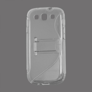 S Curve TPU &amp; Plastic Stand Case for Samsung Galaxy S 3 / III I9300 I747 L710 T999 I535 R530 - Transparent