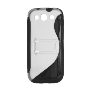 S Curve TPU &amp; Plastic Stand Case for Samsung Galaxy S 3 / III I9300 I747 L710 T999 I535 R530 - Black