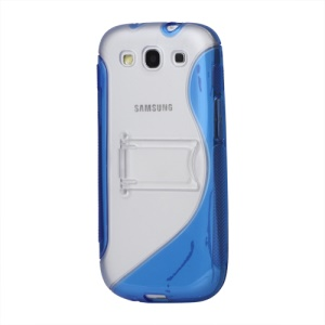 S Curve TPU &amp; Plastic Stand Case for Samsung Galaxy S 3 / III I9300 I747 L710 T999 I535 R530 - Blue