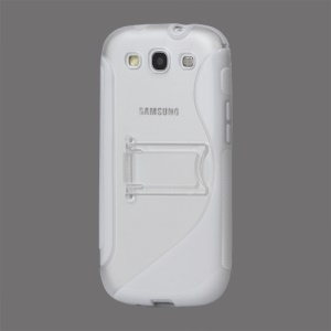 S Curve TPU &amp; Plastic Stand Case for Samsung Galaxy S 3 / III I9300 I747 L710 T999 I535 R530 - White