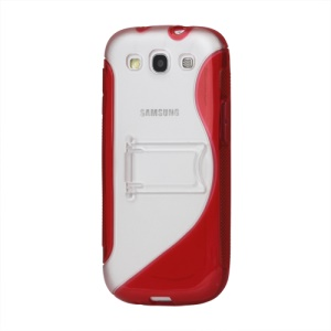 S Curve TPU &amp; Plastic Stand Case for Samsung Galaxy S 3 / III I9300 I747 L710 T999 I535 R530 - Red