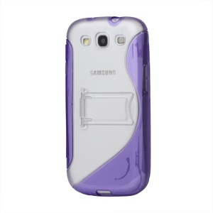 S Curve TPU &amp; Plastic Stand Case for Samsung Galaxy S 3 / III I9300 I747 L710 T999 I535 R530 - Purple